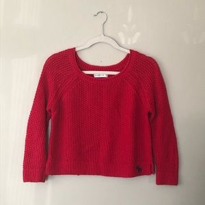 Abercombrie & Fitch Red Wool Blend Cropped Sweater